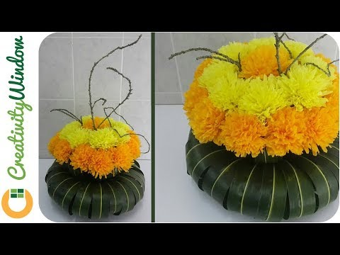 Paper Marigold Arrangement with Circular PalmLeaves Vase