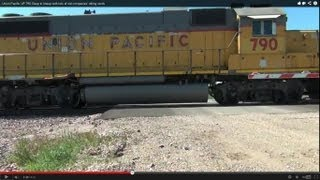 Union Pacific UP 790 Geep in lineup with lots of old companies