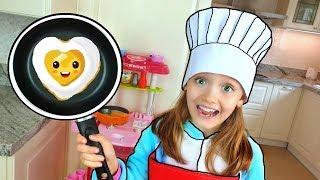 Nastya and papa Cooking Breakfast for Mama