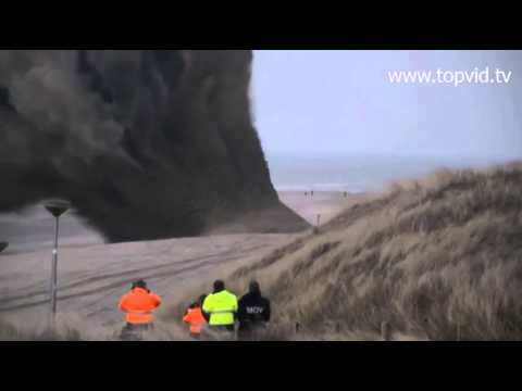 Detonation Of A WW2 Sea Mine On The Beach