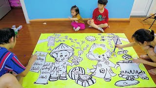Vẽ tranh Tết năm con chuột đơn giản và tô màu bằng màu ACRYLIC - How to draw Tet holiday 2020.