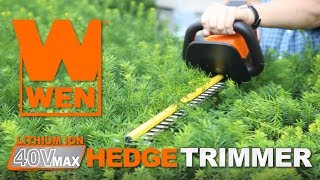 WEN 40V Max Lithium-Ion Cordless Hedge Trimmer - Product Demonstration