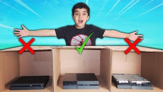 DONT DESTROY THE WRONG PS4 MYSTERY BOX CHALLENGE | KID MUST PICK MYSTERY BOX IF HE LOSES IN FORTNITE