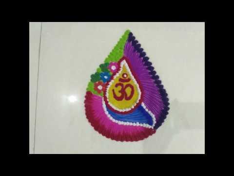 Creative Rangoli design For Saraswati Pooja..