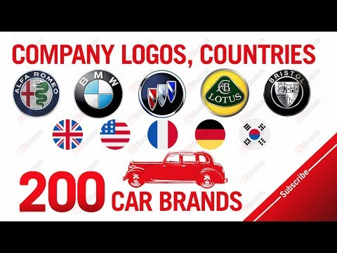 200 Car brands (A-Z), Company logos, Countries
