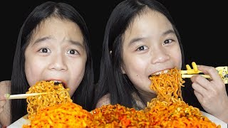 MUKBANG SPICY FIRE NOODLES   Tran Twins