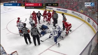 Girardi Hit by Slap Shot in the Back of the Head and Goes Down Hard  1/7/18  Lighting vs. Red Wings