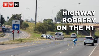 After a robbery on the M1 North highway in Johannesburg on 21 April 2021, a shootout ensued between the police and 10 suspects. Two suspects were critically wounded, four others arrested and another four managed to escape.  #M1Highway #M1Robbery #HighwayRobbery