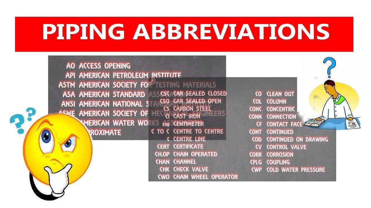 Piping Abbreviation Piping Analysis Youtube