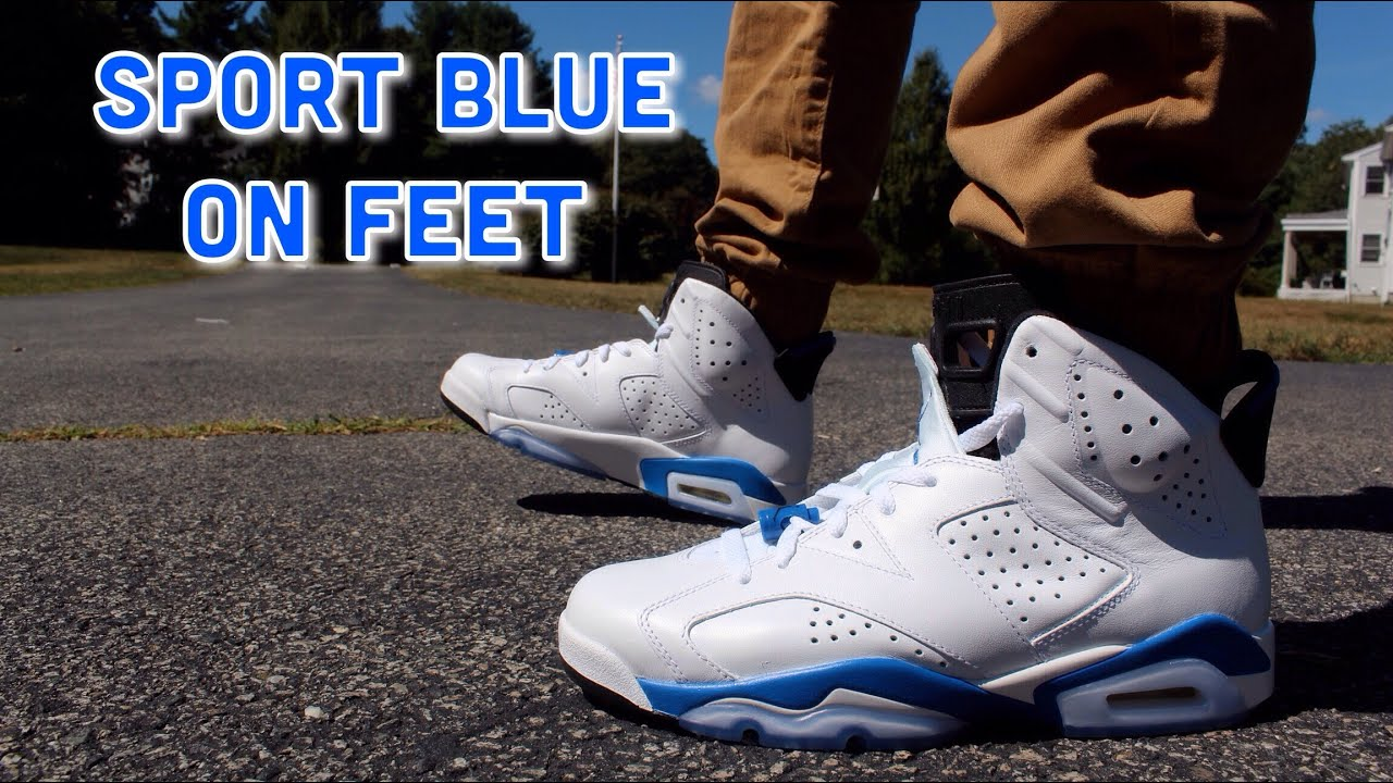 info for 30088 0690d Air Jordan Retro 6 Sport Blue ON FEET