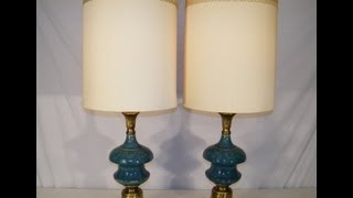 Pair Antique 50's Rembrandt Turquoise Blue Pottery & Brass Table Lamps