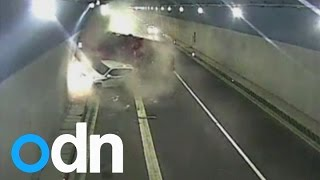 MUST WATCH: Dramatic moment a lorry and a truck crash in tunnel