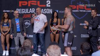 MMA Fighter Sean O'Connell offers opponent pizza during weigh-ins