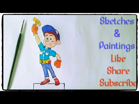 How to draw and paint Fix it Felix cartoon Wreck it Ralph Disney animation simple easy steps for kid