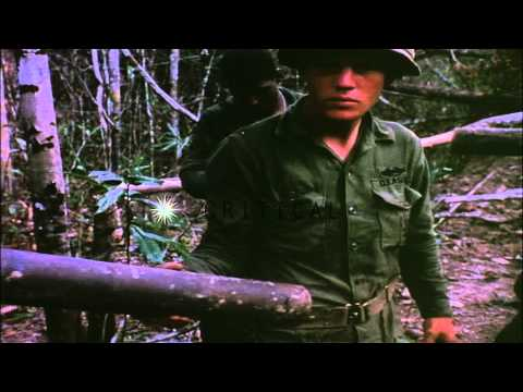 United States 1st infantry division soldiers capture Viet Cong munitions and dest...HD Stock Footage