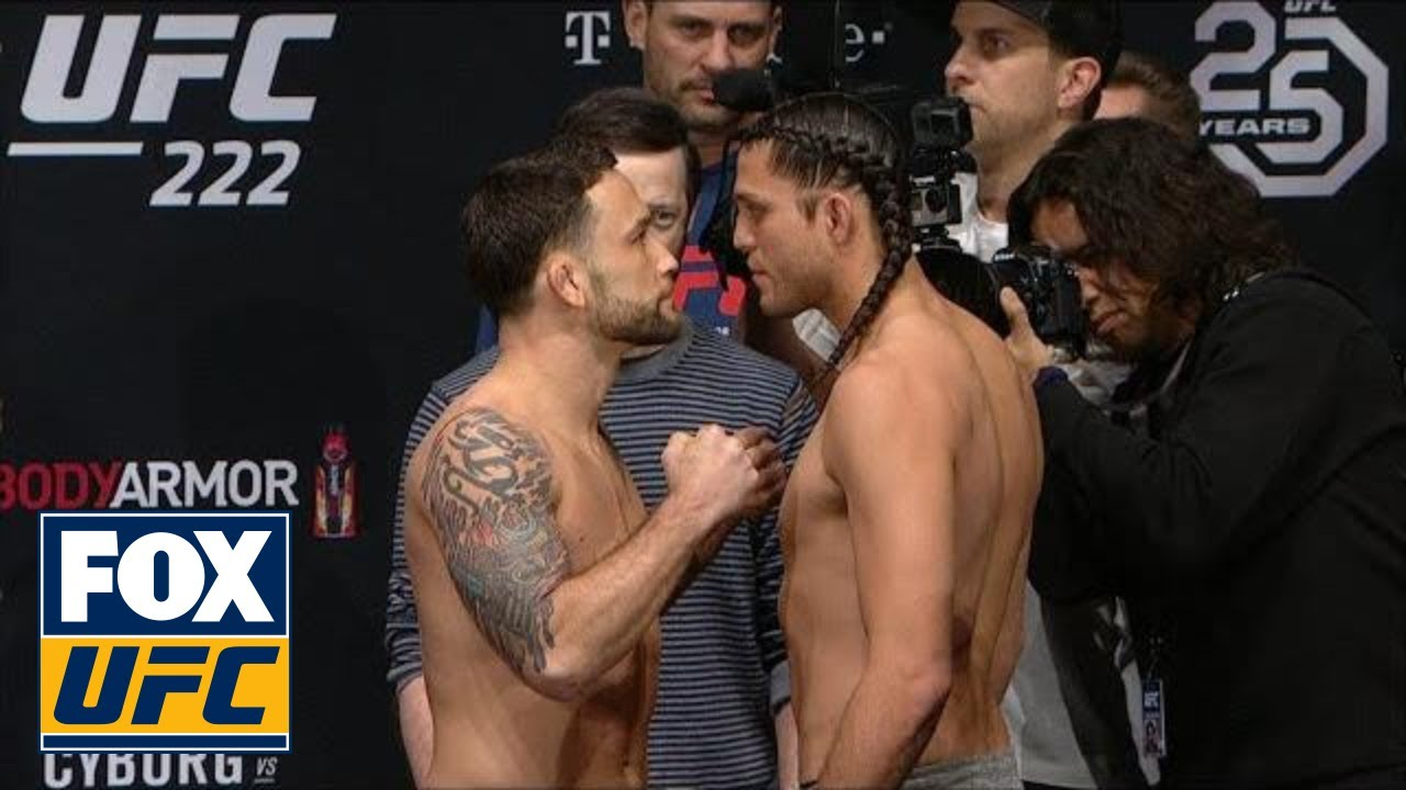 Frankie Edger vs Brian Ortega face-off | WEIGH-INS | UFC 222