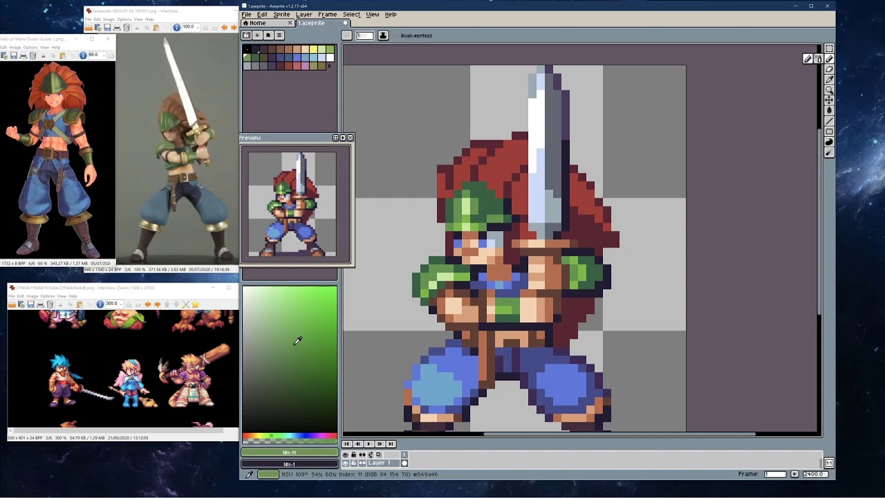PIXEL ART TIME LAPSE #193 - Duran (Trials of Mana)