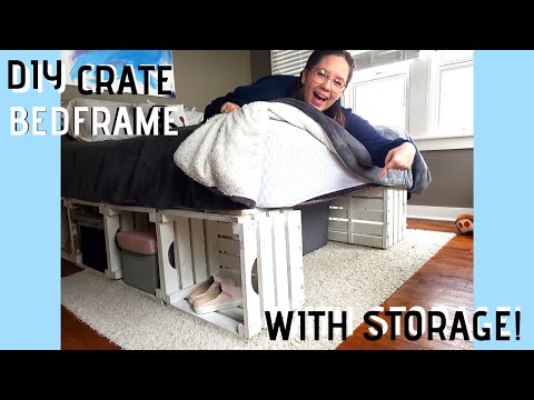 HOW TO MAKE YOUR  OWN BEDFRAME! DIY Crate and Pallet Bed Frame - Pinterest Inspired