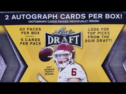 2018 Leaf Draft Football Retail Blaster Box. 2 Autos