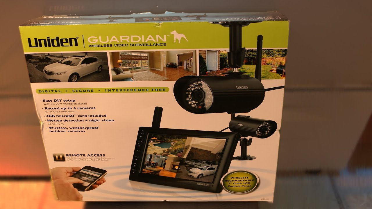 uniden guardian wireless video surveillance unboxing and first test youtube. Black Bedroom Furniture Sets. Home Design Ideas