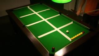 23ème exercice billard anglais 8 pool blackball(mettre la blanche dans les 8 carrés et dans l'ordre)