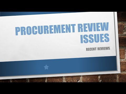 Procurement Review Issues 01/18/2018