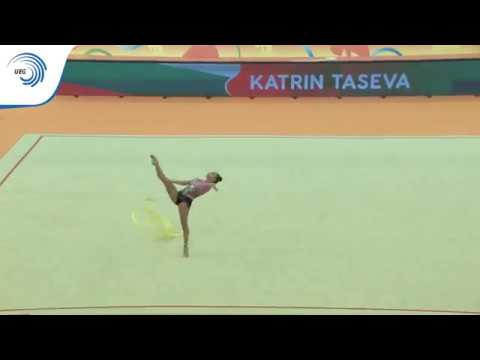 Katrin TASEVA (BUL) - 2018 Rhythmic Europeans, all around final ribbon
