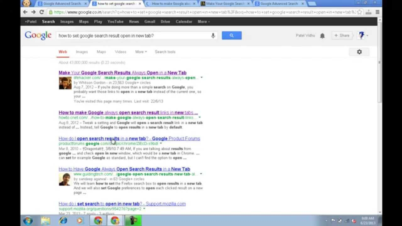 How To Permanently Open Google Search Result in New Tab without right click - YouTube