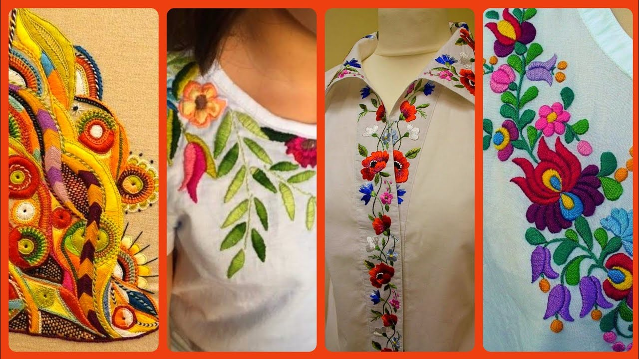 Very Latest Hand Embroidery Designs For Summer Dresses 20