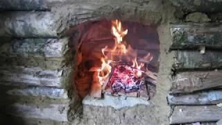 Stone and mud fireplace