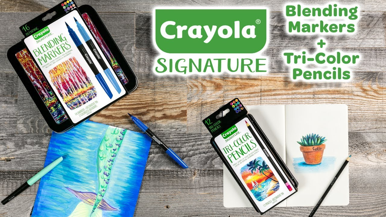 New Crayola Signature Tri Color Pencils Blending Markers