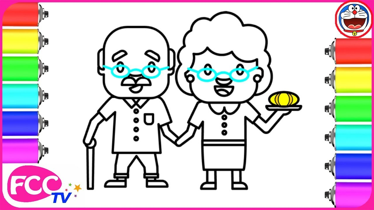 how to draw grandparents coloring pages for learning colors and