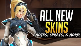 Overwatch ALL NEW SKINS  Emotes, Sprays and more!