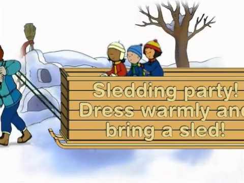 Winter birthday idea throw a Caillou sledding party Birthday