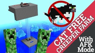 How to Make a Creeper Farm in Minecraft WITHOUT CATS: No Cats Creeper Farm with Avomance