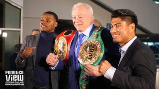 Errol Spence & Mikey Garcia give Jerry Jones their Championship Belts