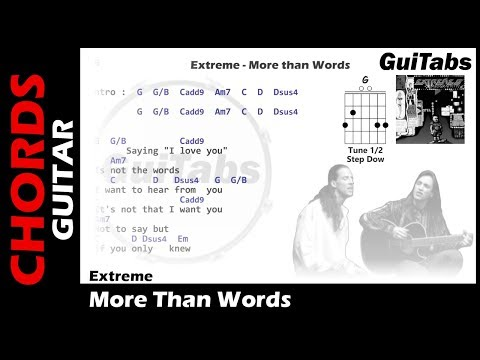 Extreme - More Than Words ( Lyrics and GuiTar Chords ) 🎸