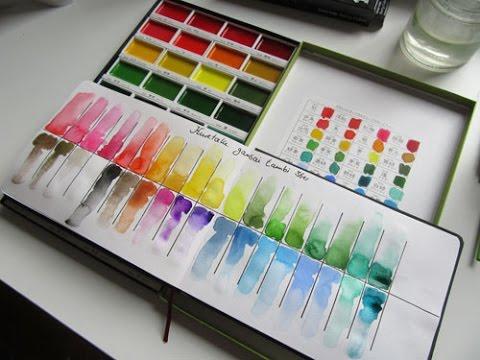 Kuretake Gansai Tambi - Unboxing & Color Chart (deutsch)