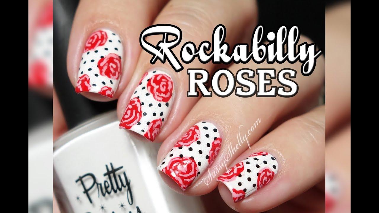 """""""rockabilly"""" Pin- Girl - Roses & Polka Dots Easy Nail"""