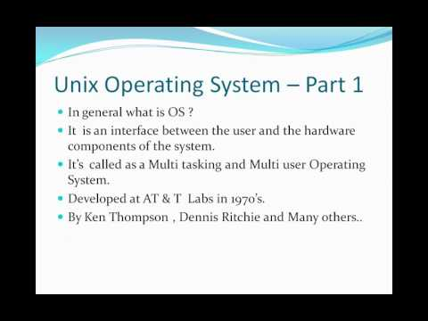 Unix Tutorial Part 1,Unix Operating System