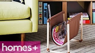 Diy Project: Faux Leather & Copper Magazine Rack - Homes+