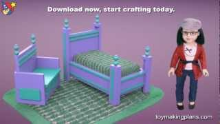 "18"" Doll Bed Plans With Settee For American Girl Dolls"