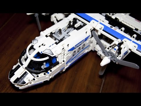 Technic 42025 Cargo Plane and Hovercraft Speed Build with Power ...