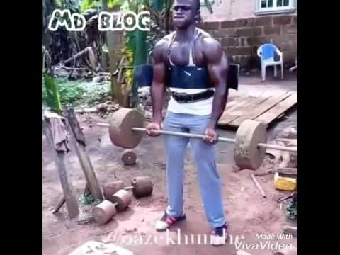 Funny vodeo . Black guy in zym. The real bodybuilder. Hero in jungle.