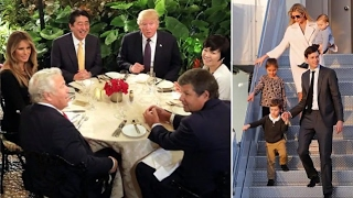 The Supper Bowl! The Trumps, the Japanese prime minister and his wife are joined by New England.