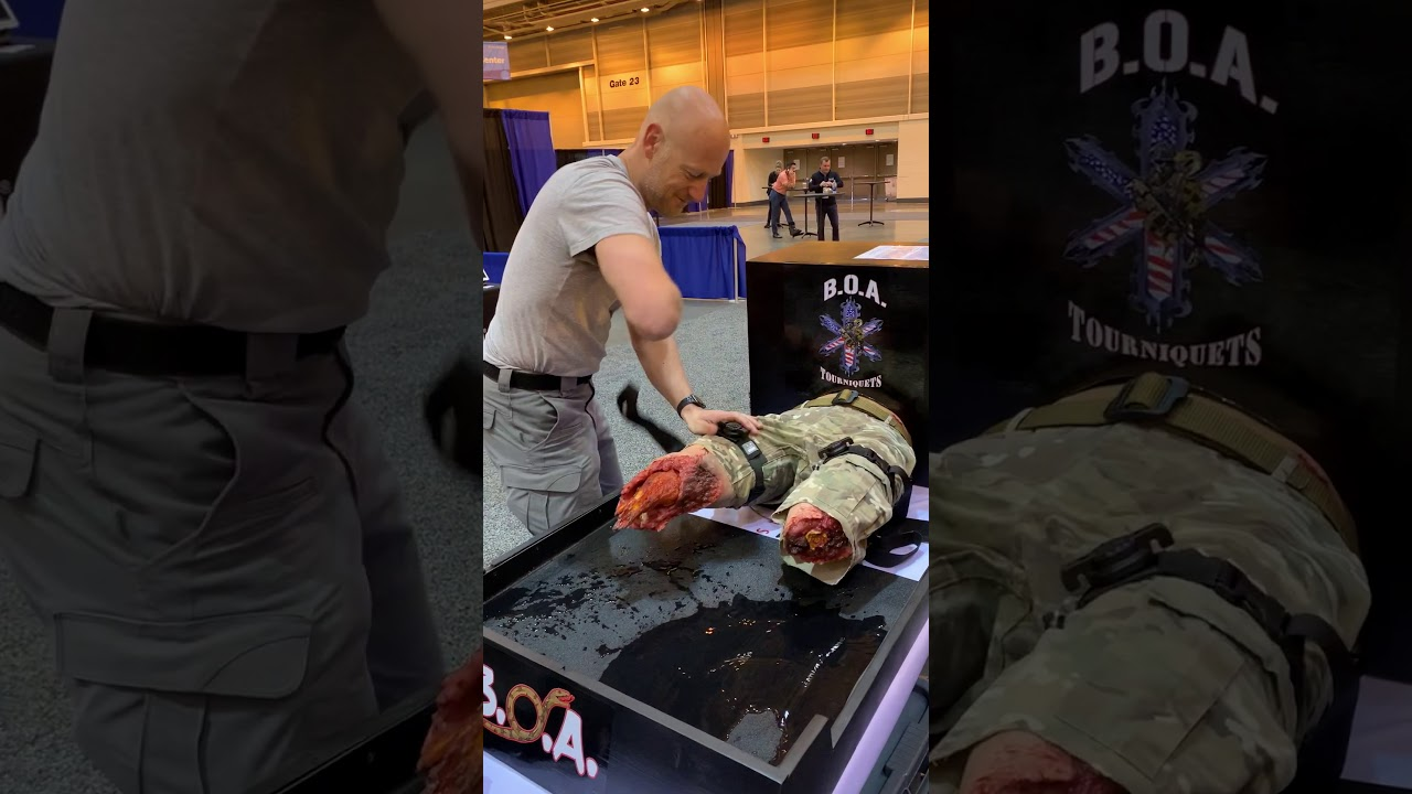 EMS World Expo Attendee puts X8T Tourniquet on in 5 Seconds!