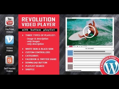 Revolution Video Player WordPress Plugin Manage The Playlist And Categories