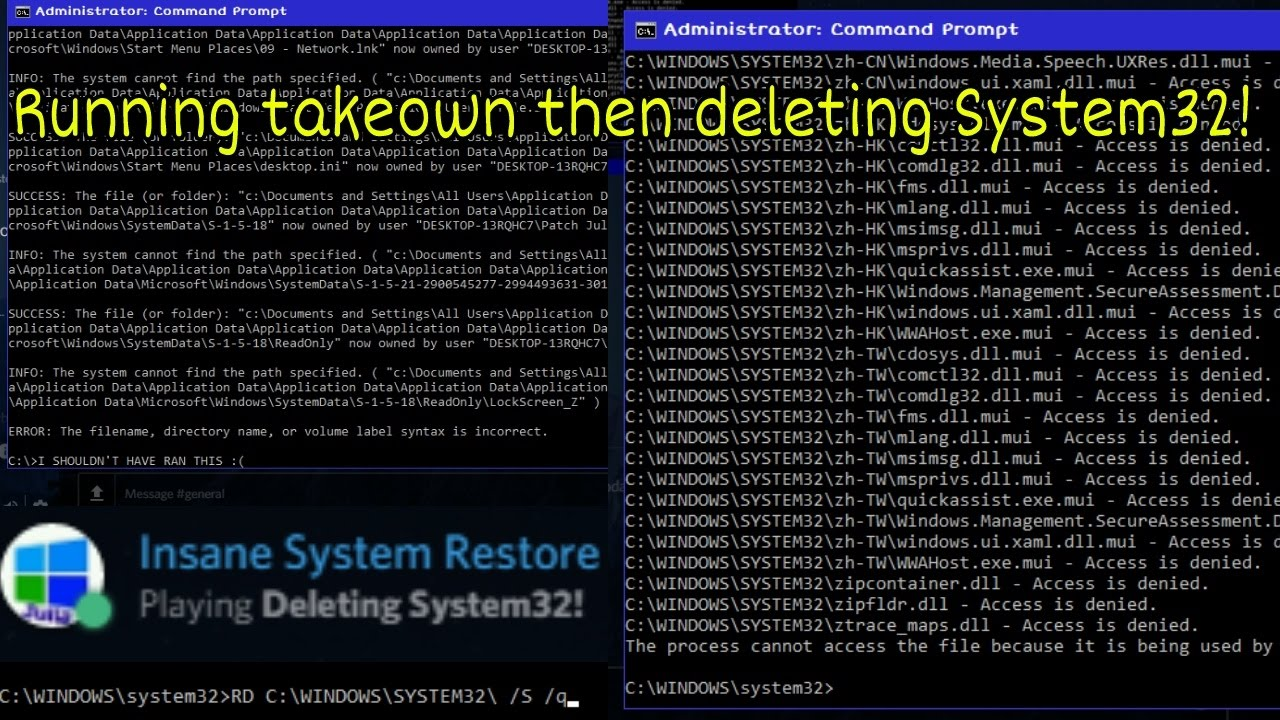 Running takeown on C drive then deleting System32 on my REAL Windows 10  computer!
