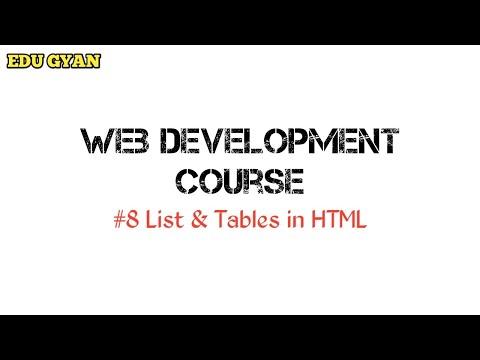 #8 List & Tables In Html | Hindi Tutorial | Web Development | EDUGYAN