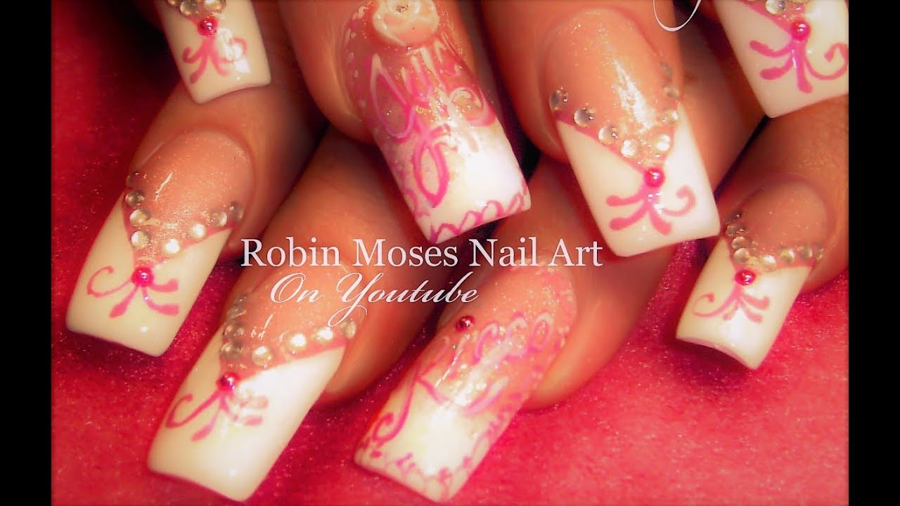Pink and white french manicure with bling nail art design tutorial pink and white french manicure with bling nail art design tutorial youtube prinsesfo Gallery